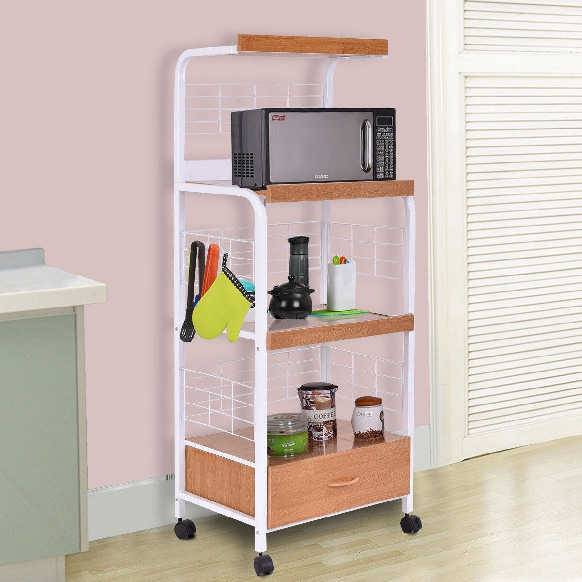 costway 62 bakers rack microwave stand rolling kitchen storage cart