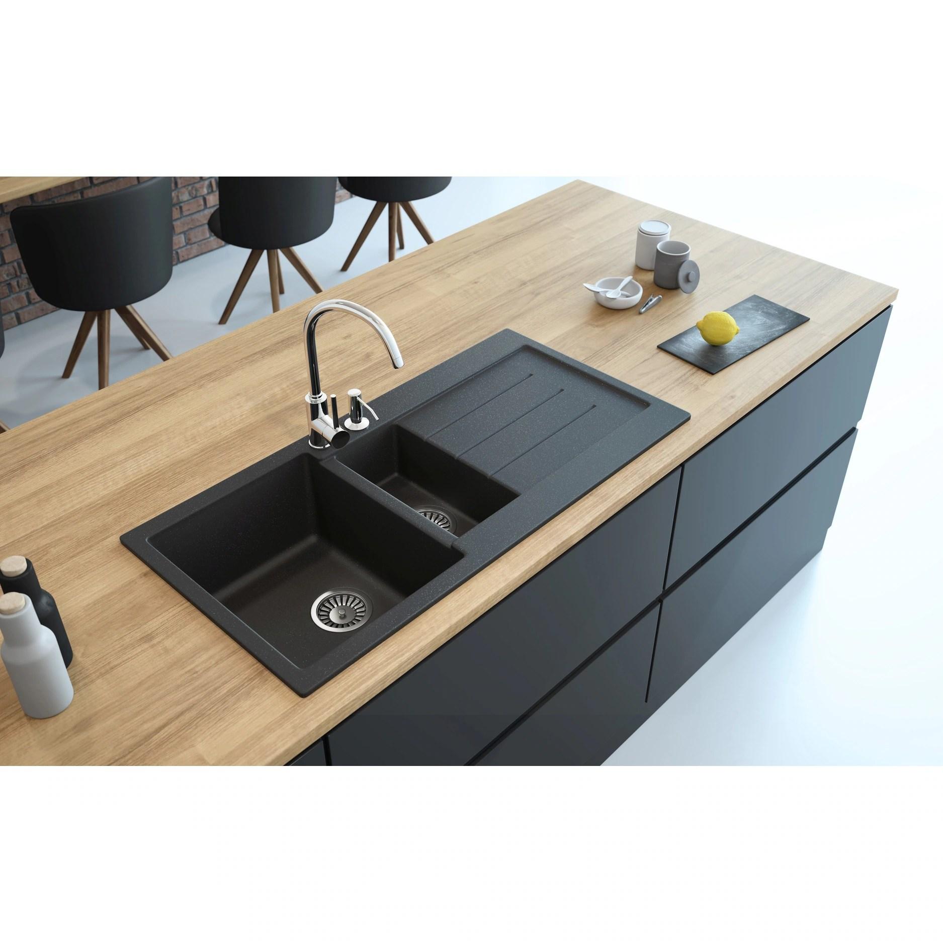 american lavello granite composite 39 drop in with drainboard double bowl kitchen sink marcello right 3 holes