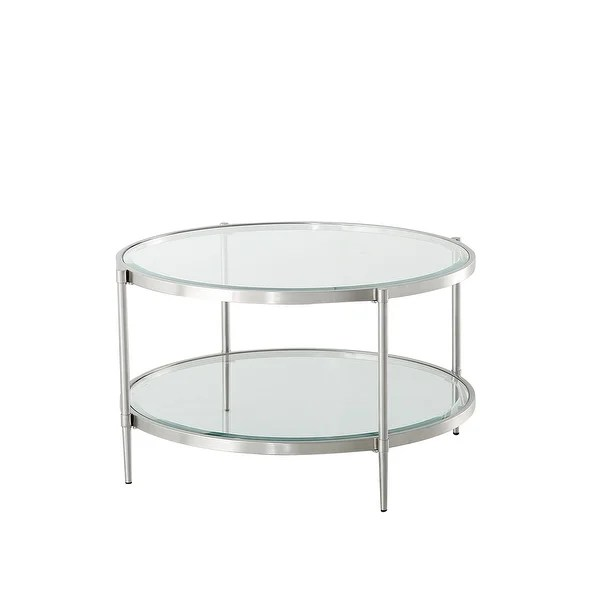 home 2 tier modern round glass coffee