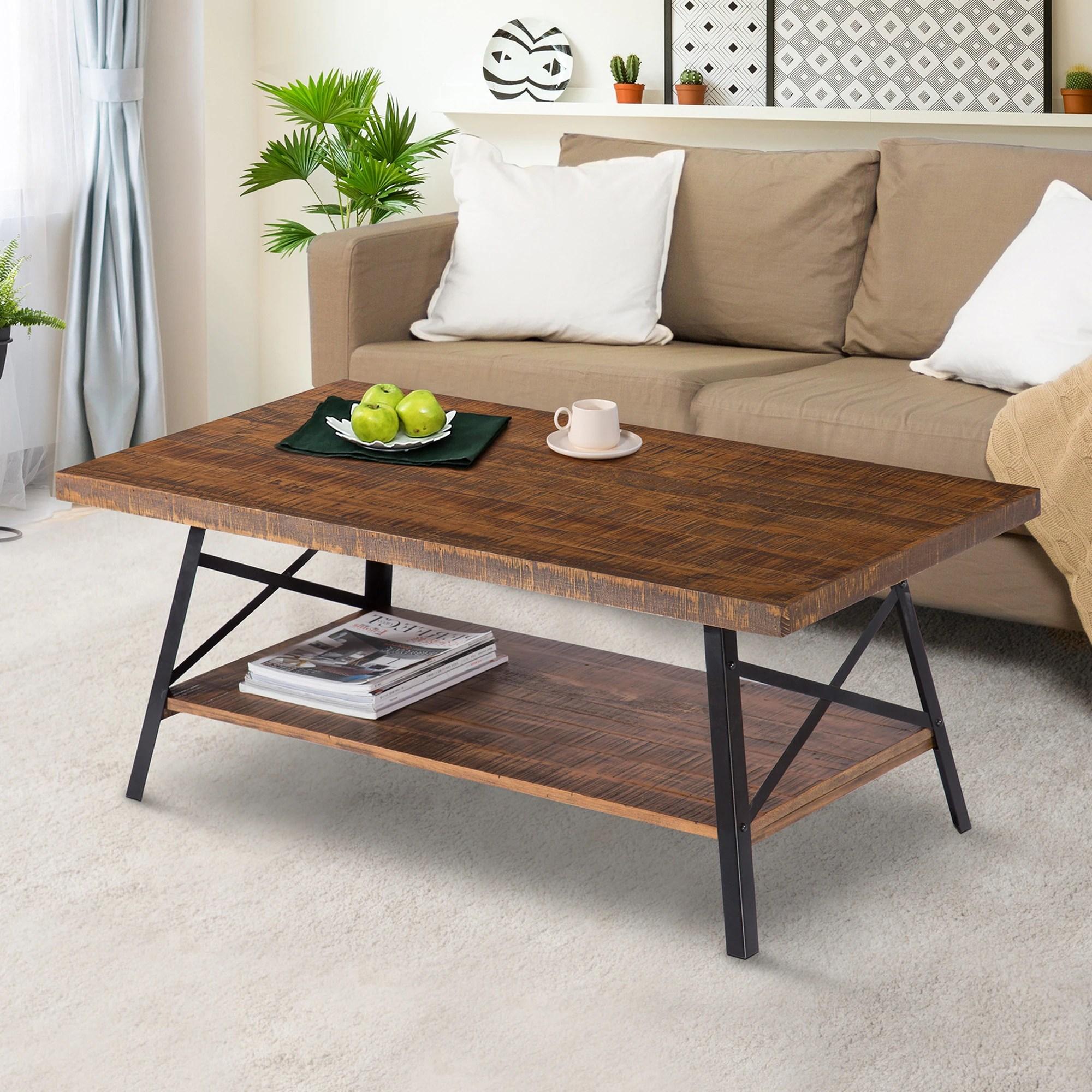 carbon loft enjolras wood steel coffee table