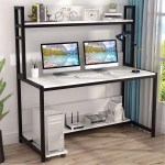 55 Inches Large Computer Desk With Hutch Overstock 31311778 White