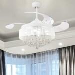 Shop Black Friday Deals On Modern Crystal Fandelier Retractable 4 Blades Led Ceiling Fan 46 In Overstock 20816907