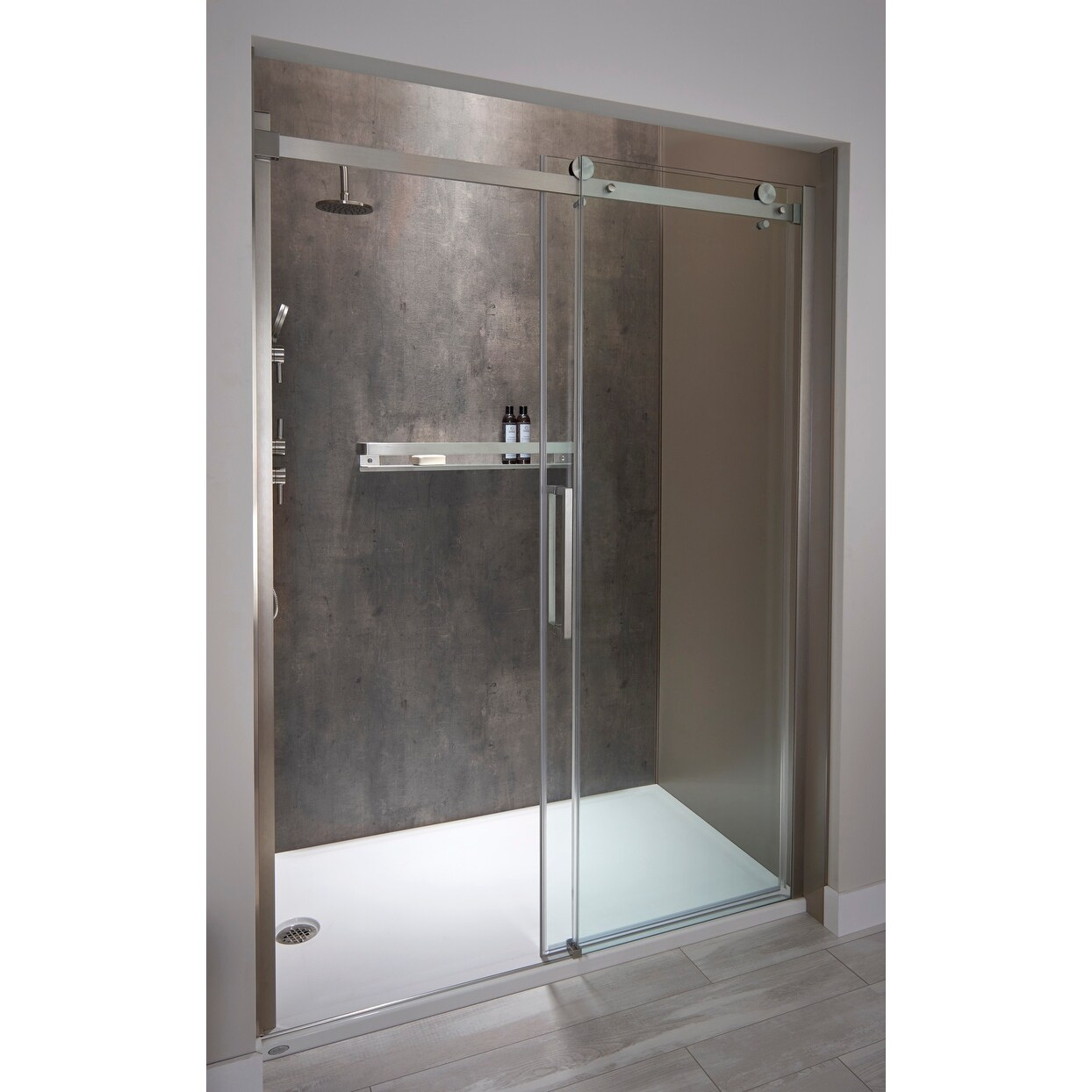 Jacuzzi Sx60 79 High X 60 Wide Sliding Semi Frameless Shower Door With Clear Glass