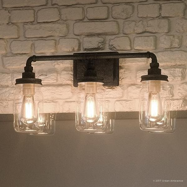 luxury industrial bathroom light 11 h x 21 5 w with shabby chic style aged pipe design antique black finish 21 5