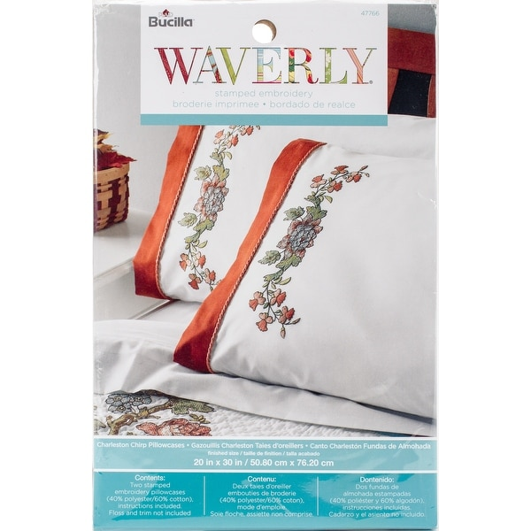 shop stamped embroidery pillowcase pair 20 x30 waverly charleston chip free shipping on orders over 45 overstock com 20017004