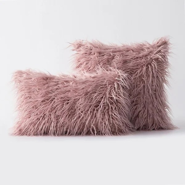 buy pink faux fur throw pillows online