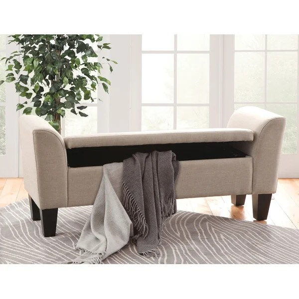 upholstered claire storage bench on