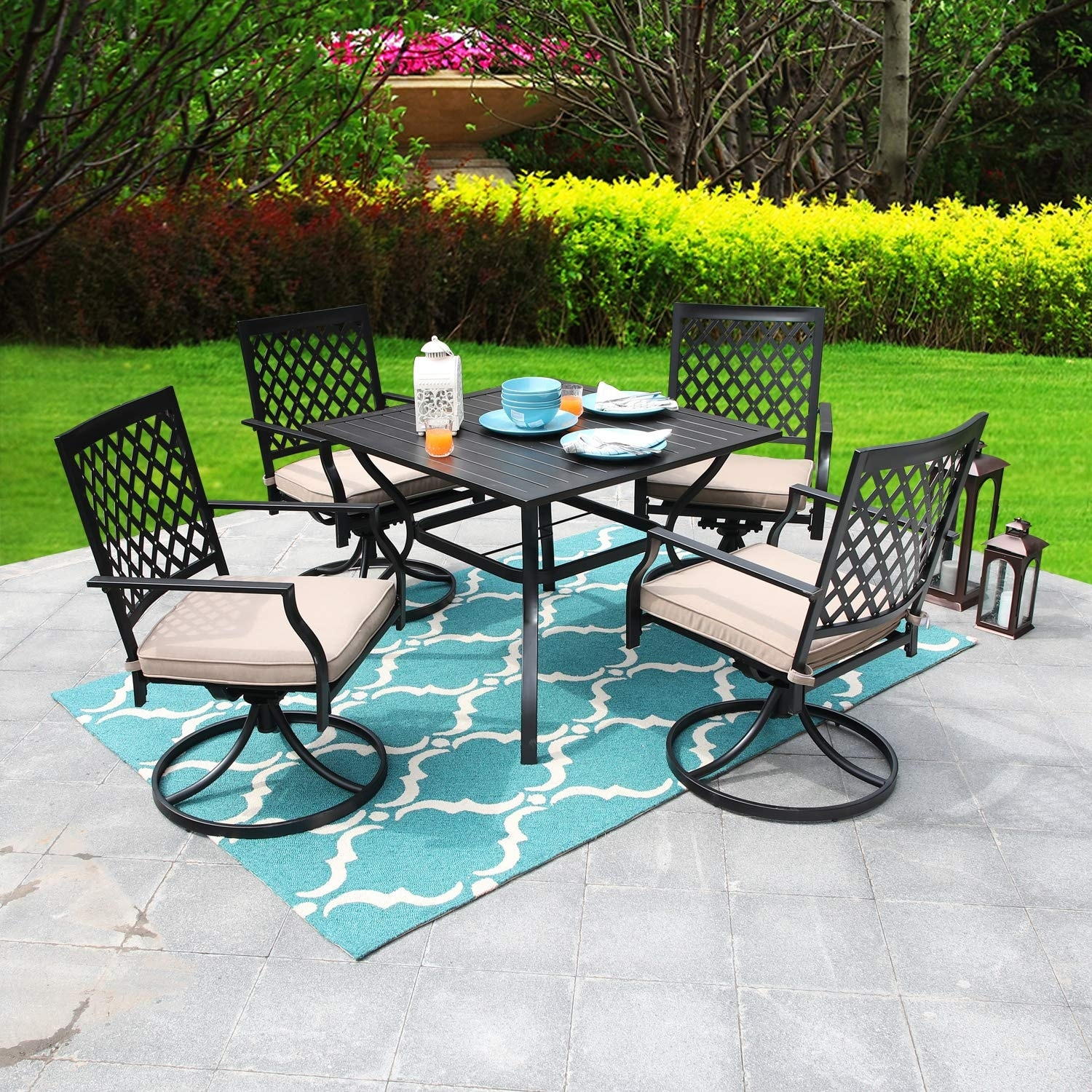 viewmont 5 piece outdoor dining set with large table and 4 swivel chairs by havenside home