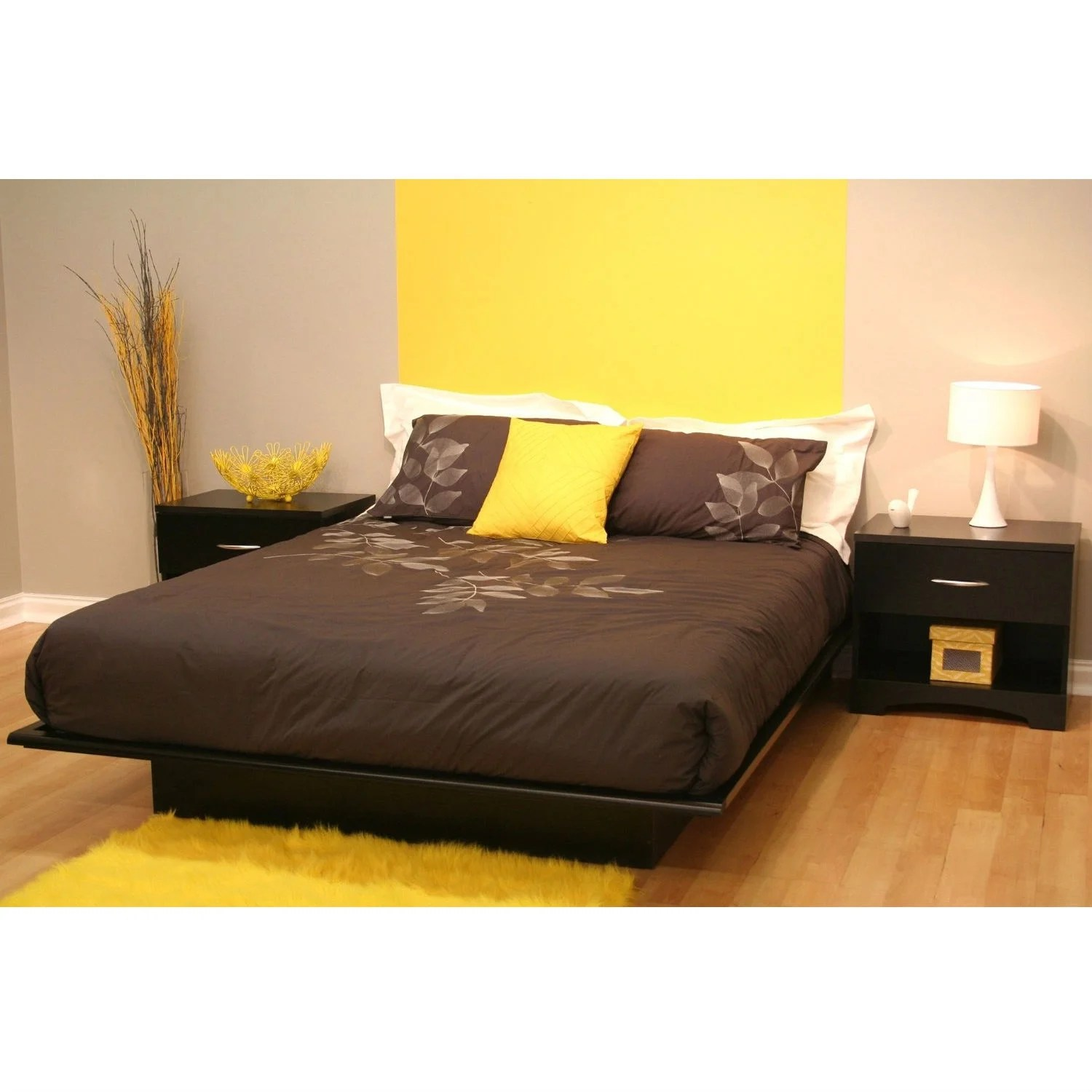 Queen Size Modern Platform Bed Frame In Black Wood Finish On Sale Overstock 29083805