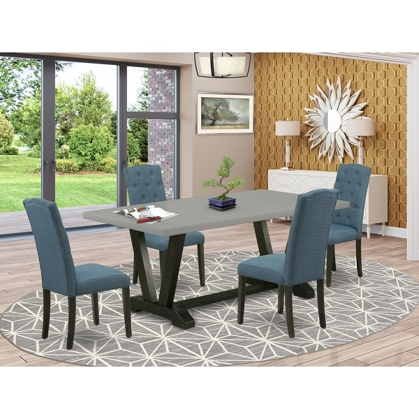 East West Furniture 5 Pc Dining Room Table Set 4 Dining Chairs And 1 Modern Dining Table With Button Tufted Chair Back Overstock 32876941
