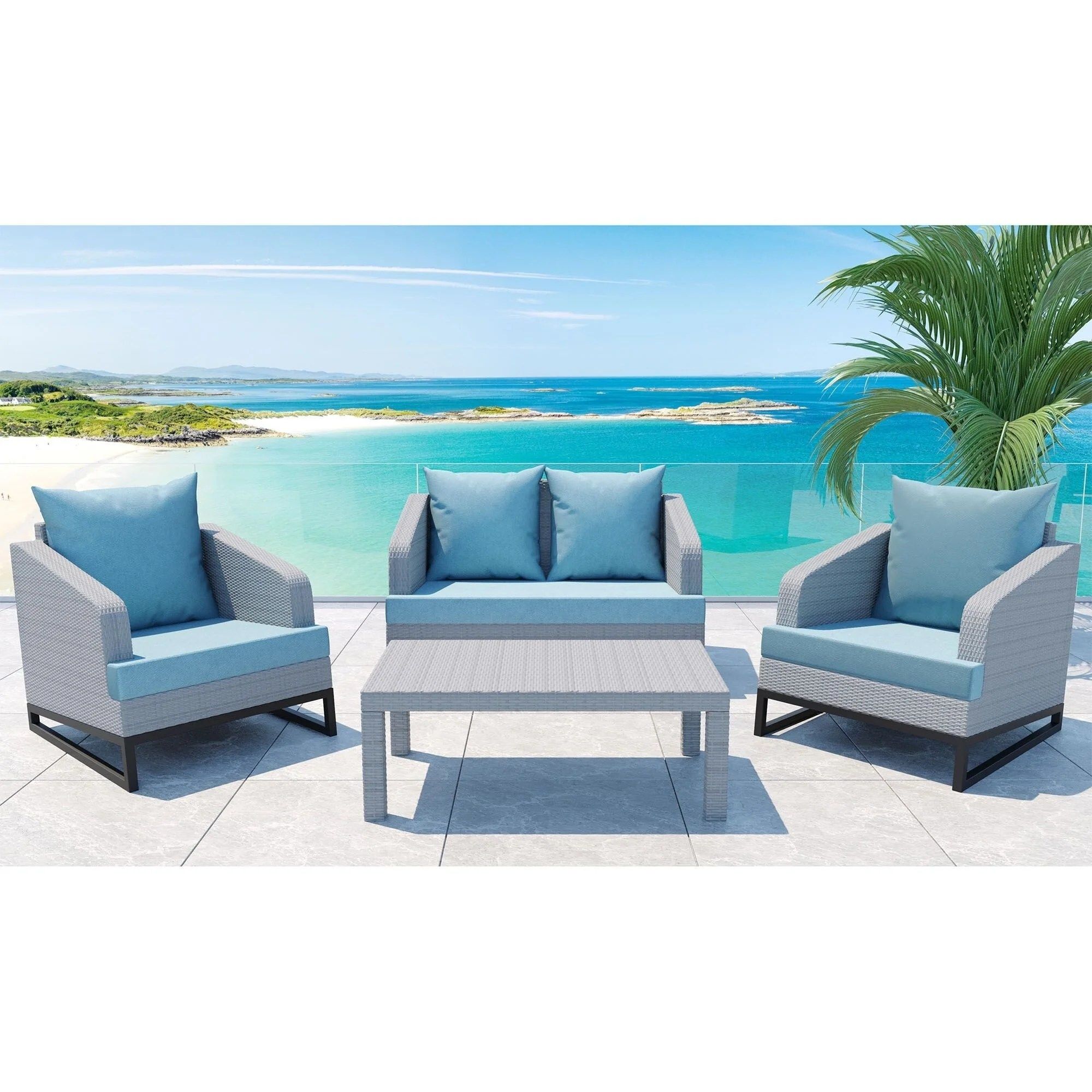 comal 4 piece outdoor patio seating set by gardennaire 2x club chairs loveseat coffee table