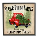 Stupell Industries Holiday Red Truck Sugar Plum Farms Sign Framed Wall Art 12 X 12 Multi Color Overstock 32077491