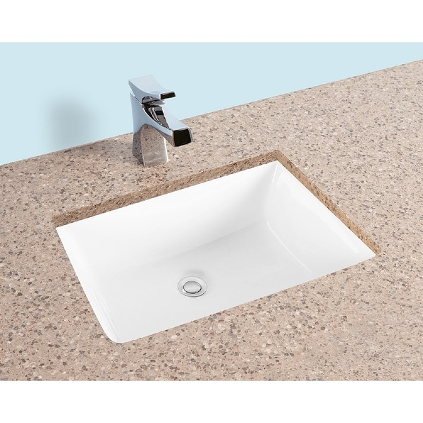 fiore 2015 20 x15 rectangle undermount bathroom sink w concealed overflow hole modern porcelain ceramic lavatory white
