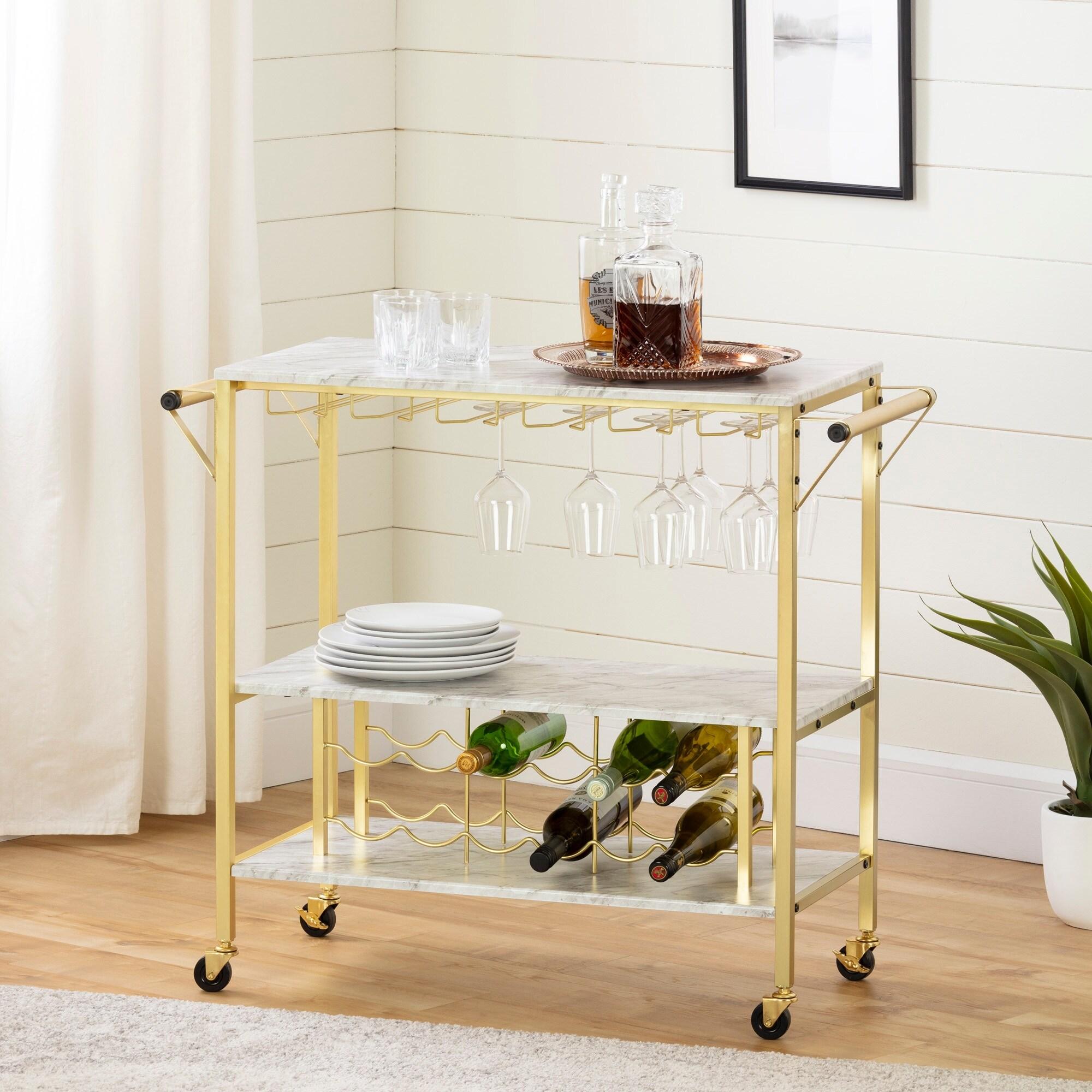 south shore maliza bar cart w wine bottle storage glass rack