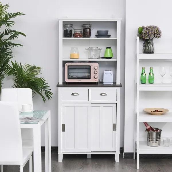 Homcom Freestanding Kitchen Pantry Cabinet Cupboard With Sliding Doors And Open Shelves Adjustable Shelving Black Overstock 32270011 Black Wood Grain