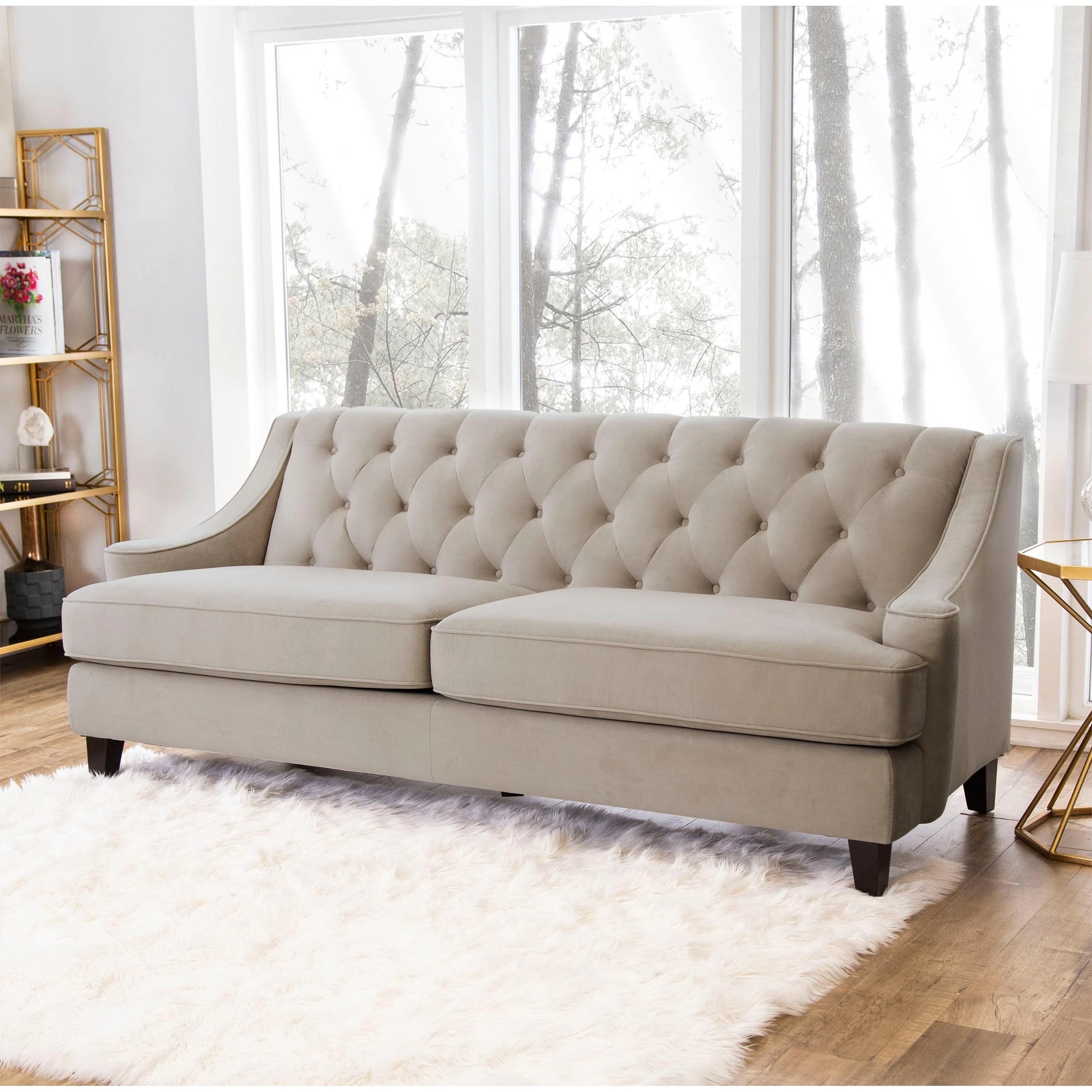 Abbyson Claridge Taupe Velvet Fabric Tufted Sofa Overstock 9556549