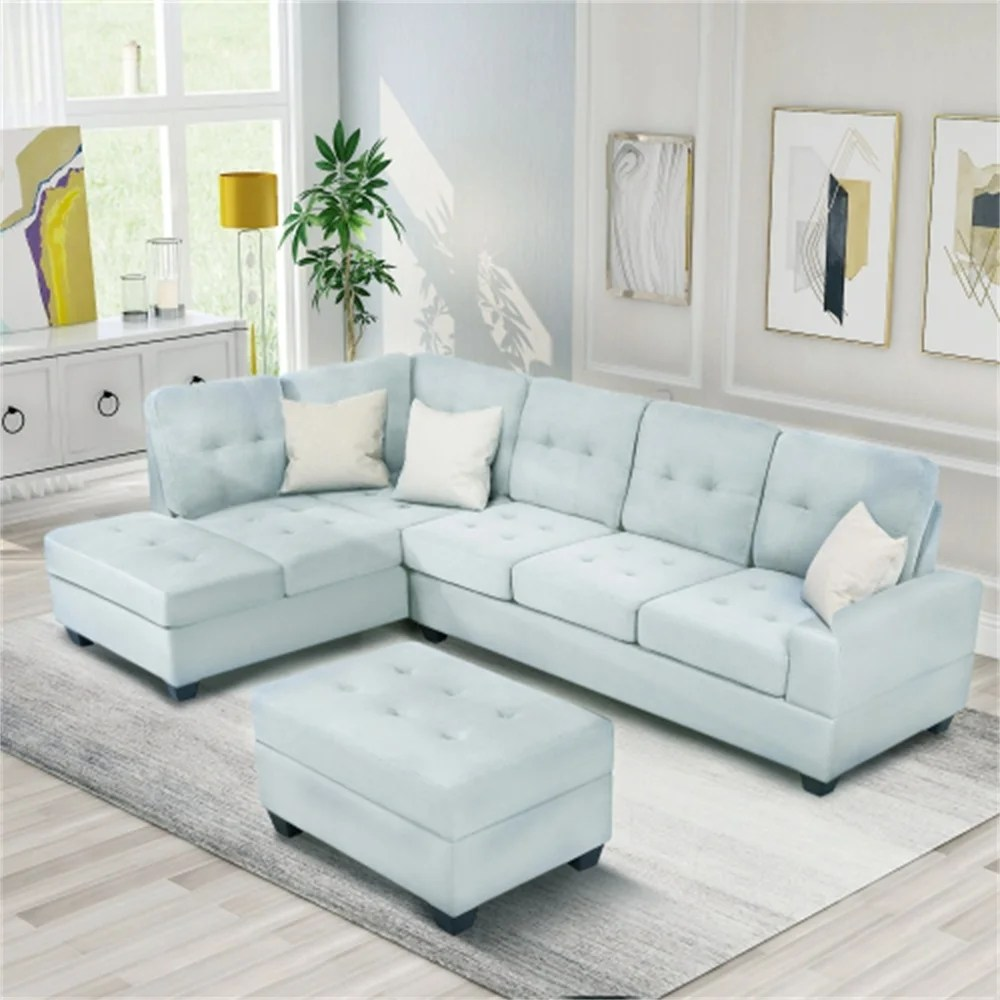 3 piece sectional sofa microfiber with chaise lounge storage ottoman