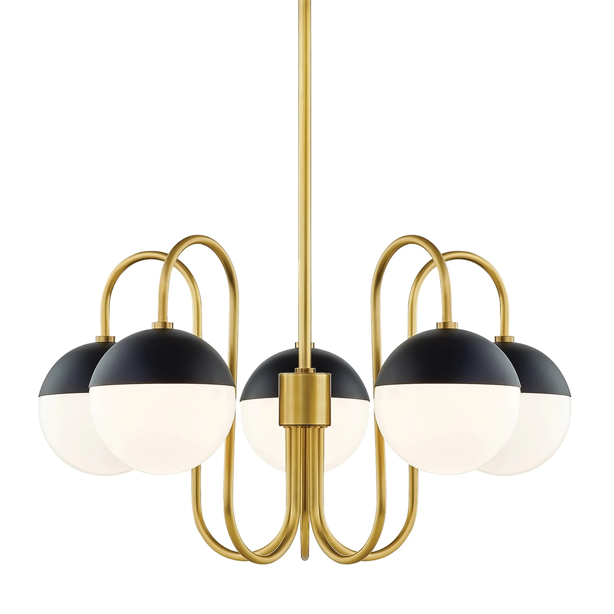 mitzi by hudson valley lighting renee 5 light aged brass and black chandelier opal glossy glass
