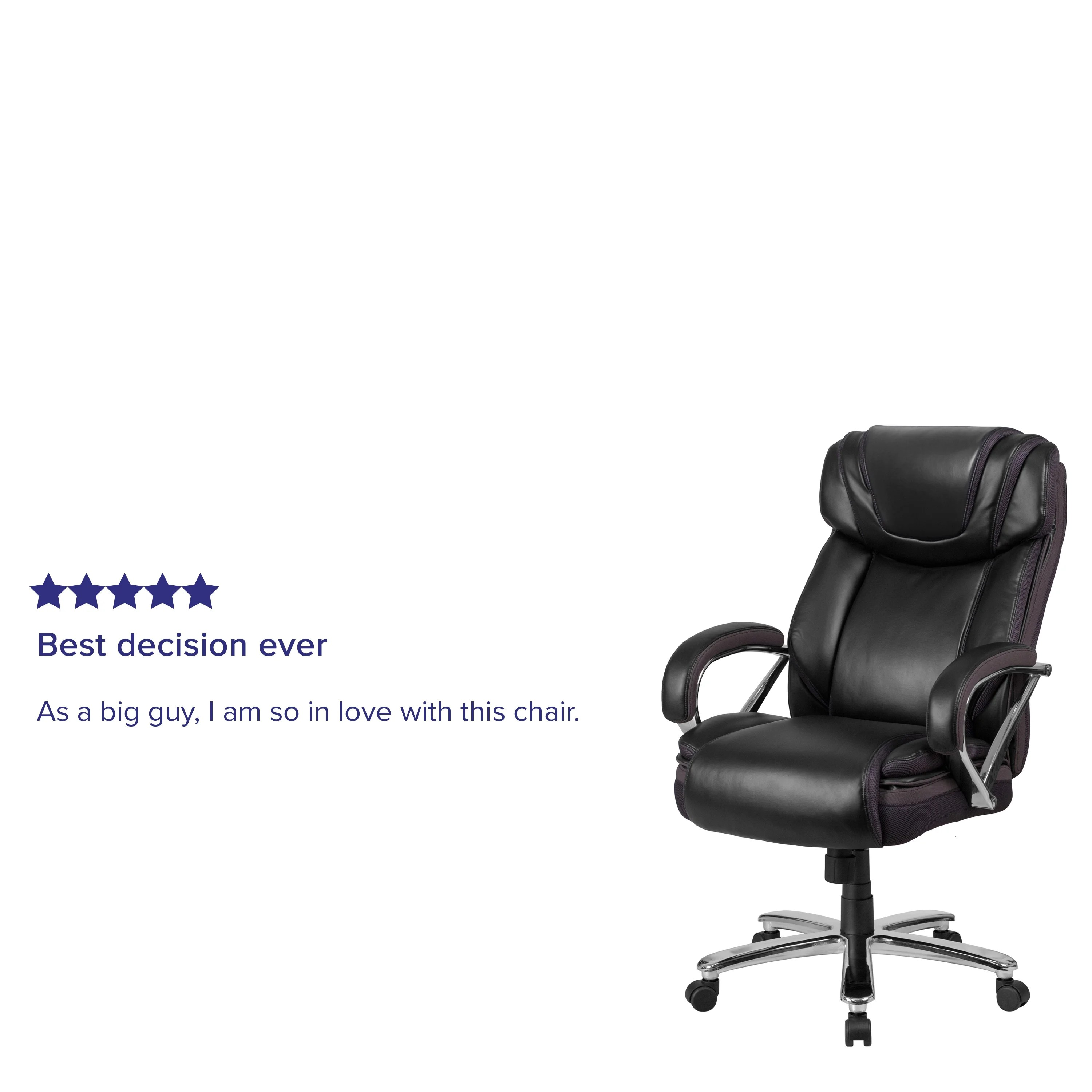 Big Tall 500 Lb Rated Leathersoft Swivel Office Chair W Extra Wide Seat On Sale Overstock 14216983