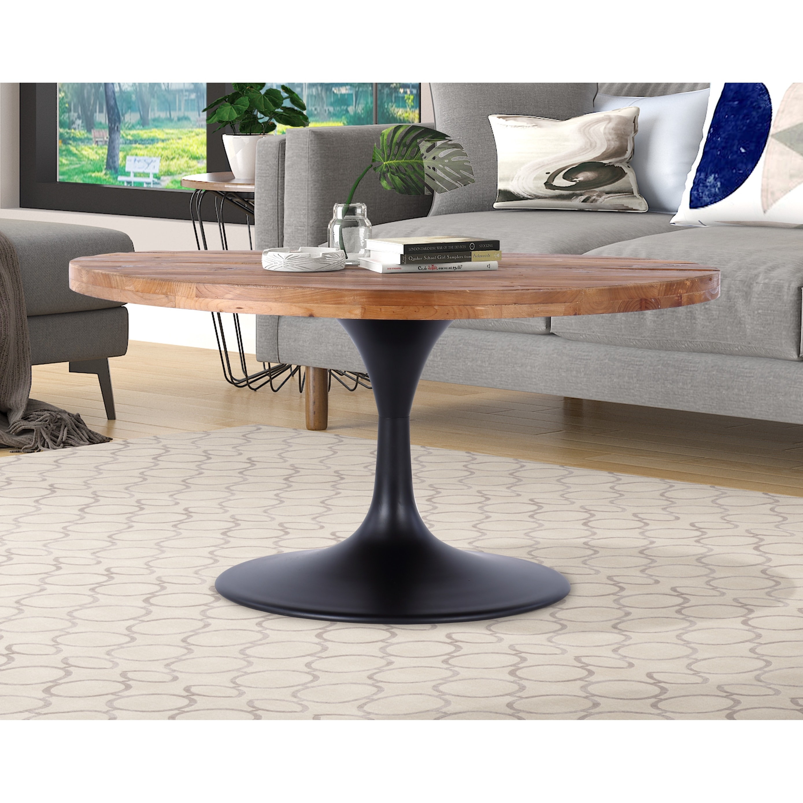 camberwell 36 round reclaimed wood and metal pedestal coffee table