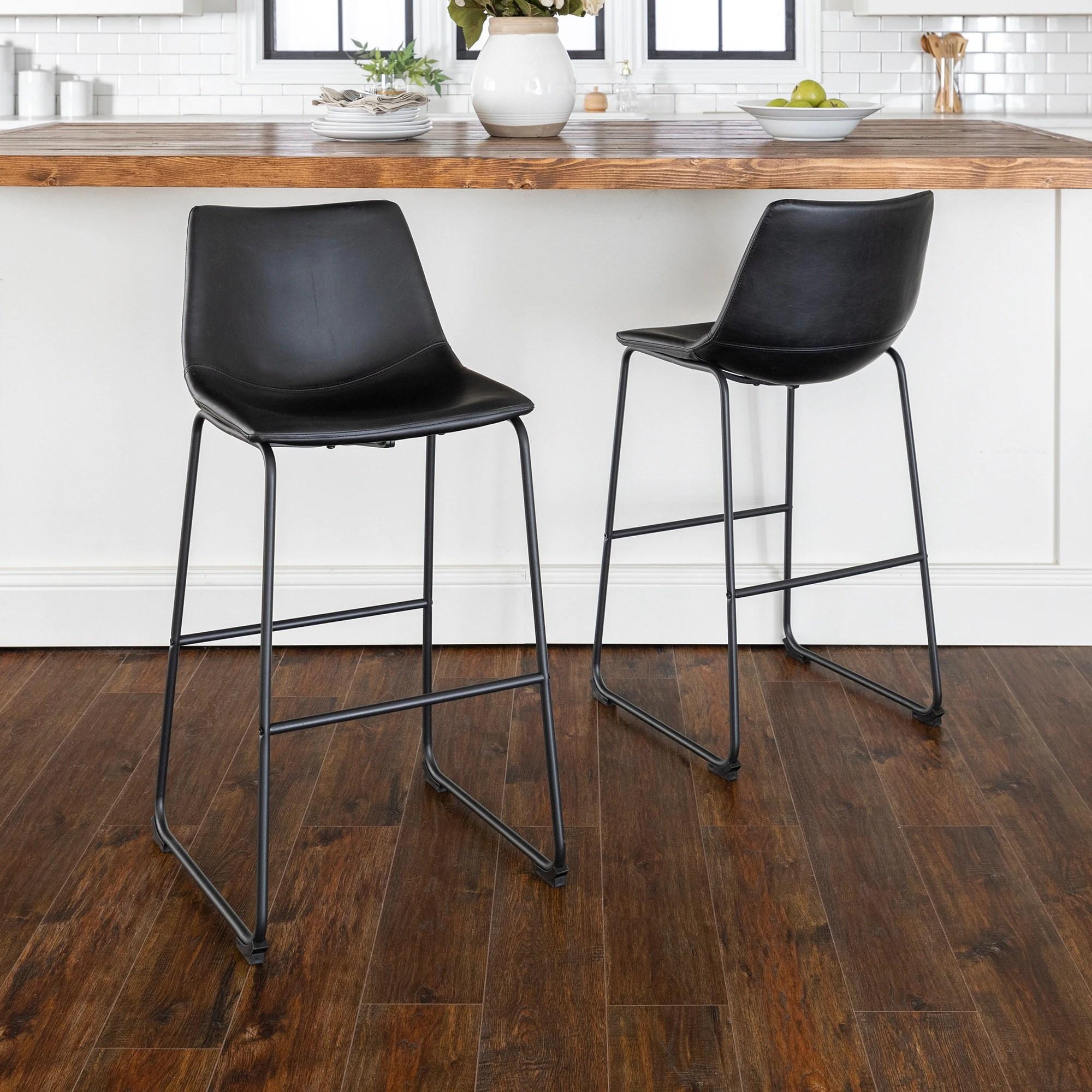 Carbon Loft Prusiner Faux Leather Bar Stool Set Of 2 Black Overstock 20559100