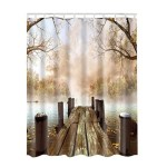 Shop Black Friday Deals On Bathroom Shower Curtains Lake House Nature Country Rustic 180x180cm Overstock 25414571