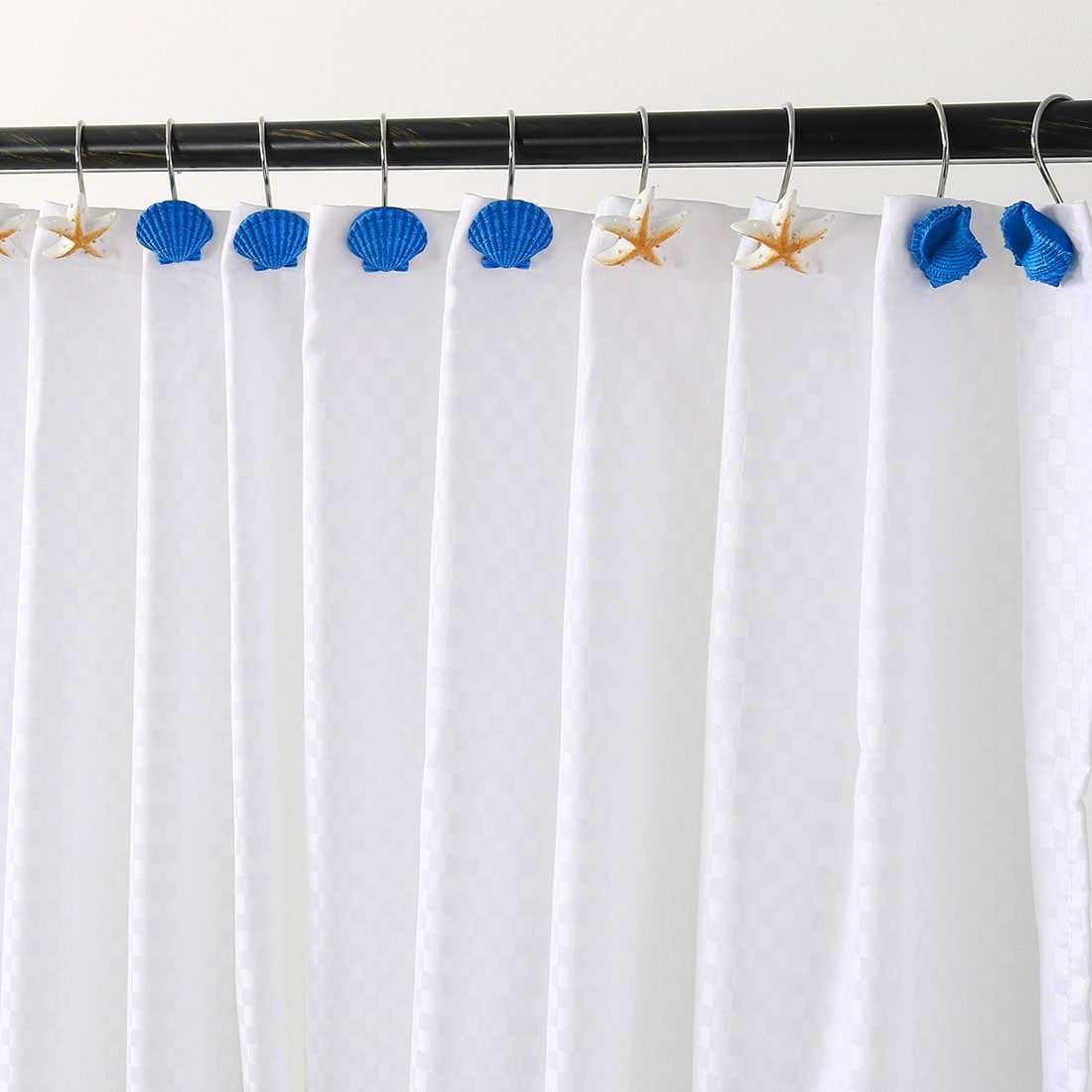 Metal Resin Shower Curtain Hooks Rolling Hook Rings Clips Decorative 12pcs