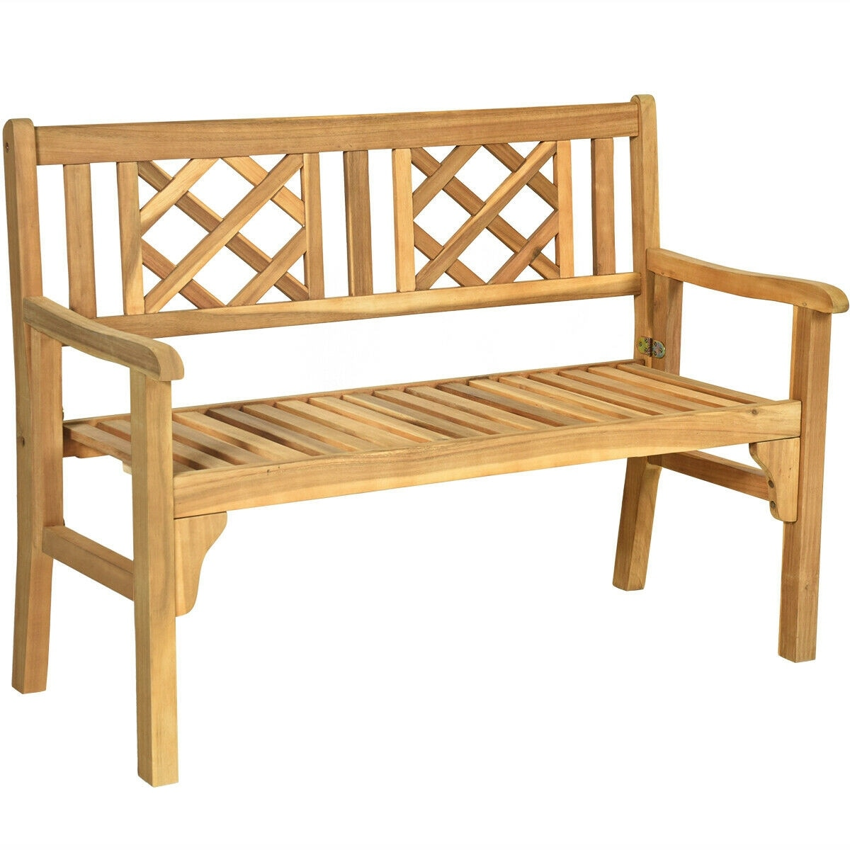 patio foldable bench with curved backrest and armrest natural