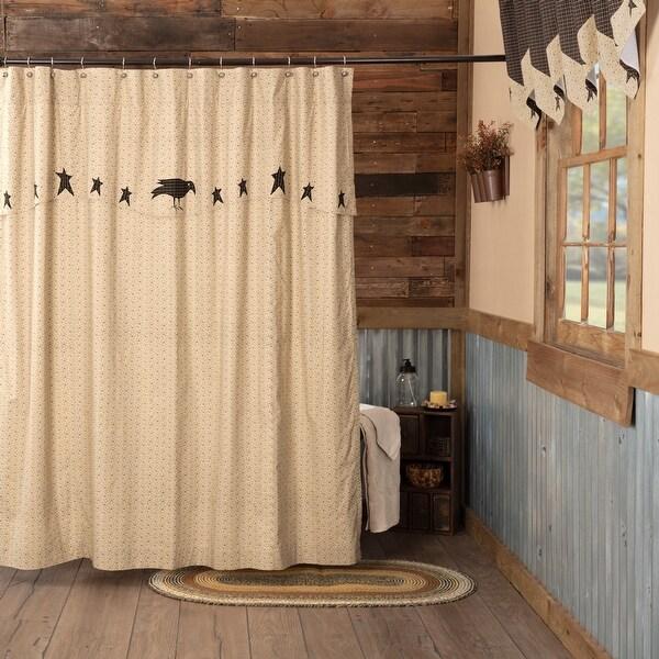 https www overstock com bedding bath black primitive bath prim grove crow and star shower curtain rod pocket cotton nature print appliqued 26275551 product html