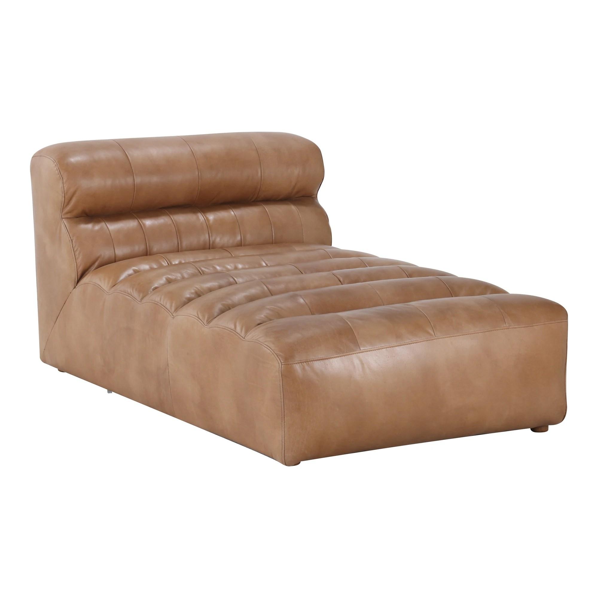 aurelle home remi modern leather chaise sofa chair