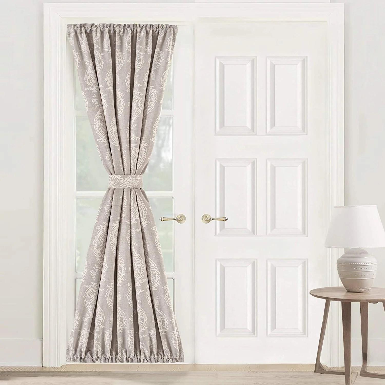 driftaway cathy linen blend door curtain room darkening privacy french door panel with adjustable tieback