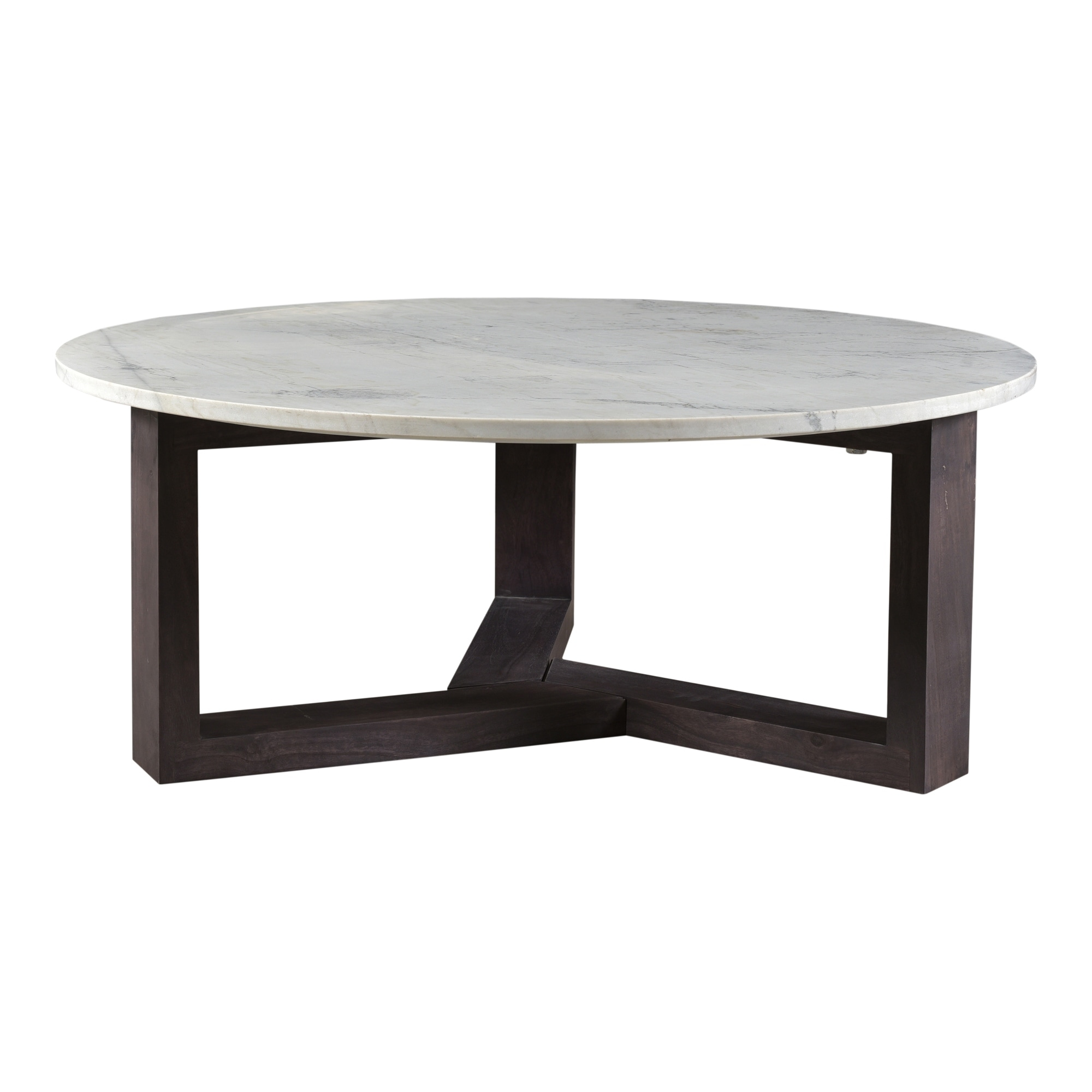 aurelle home jayda modern marble and acacia wood round coffee table 42 round 42 round