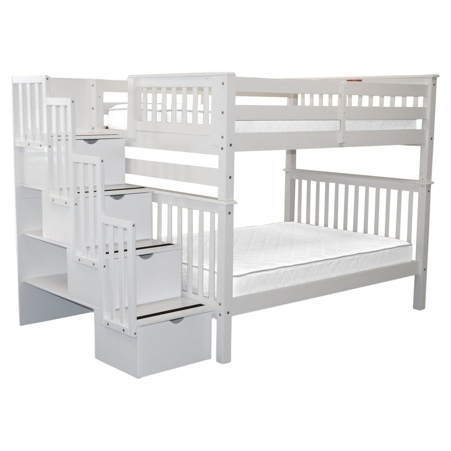 Bedz King Stairway Bunk Beds Full Over Full With 4 Drawers In The Steps White Overstock 22669718
