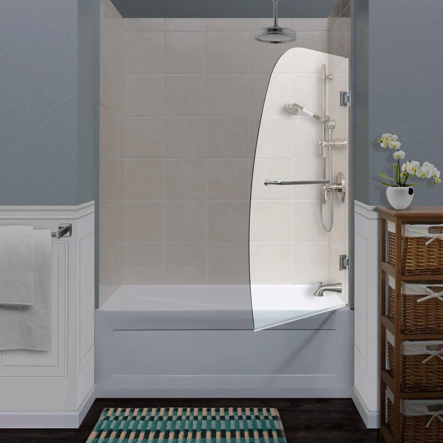 Miseno Msdcfl3458 58 High X 34 Wide Frameless Pivoting Tub Screen With Clear 1 4 Glass And H2off Technology