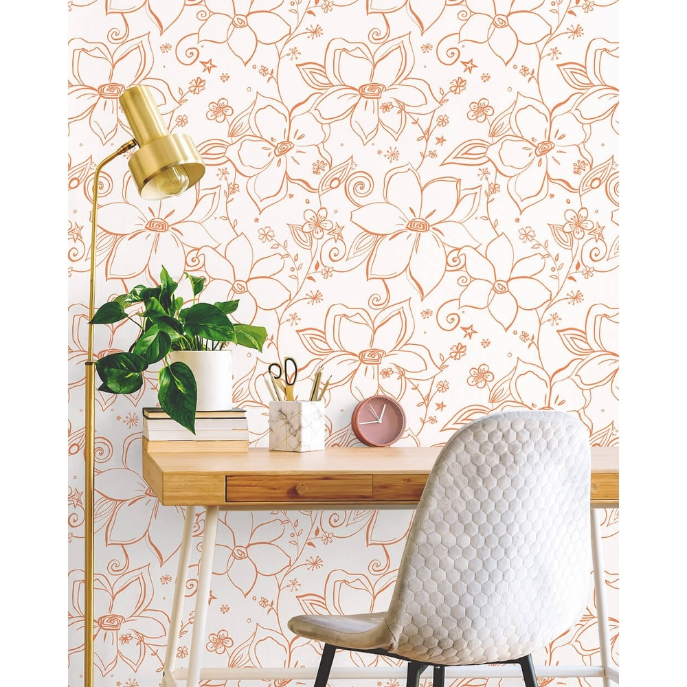 Shop Nextwall Linework Floral Peel And Stick Removable Wallpaper Overstock 31526684