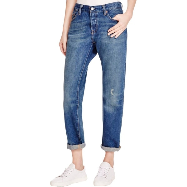 Shop Levis Womens 501 CT Boyfriend Jeans Distressed Button Fly Free Shipping On Orders Over