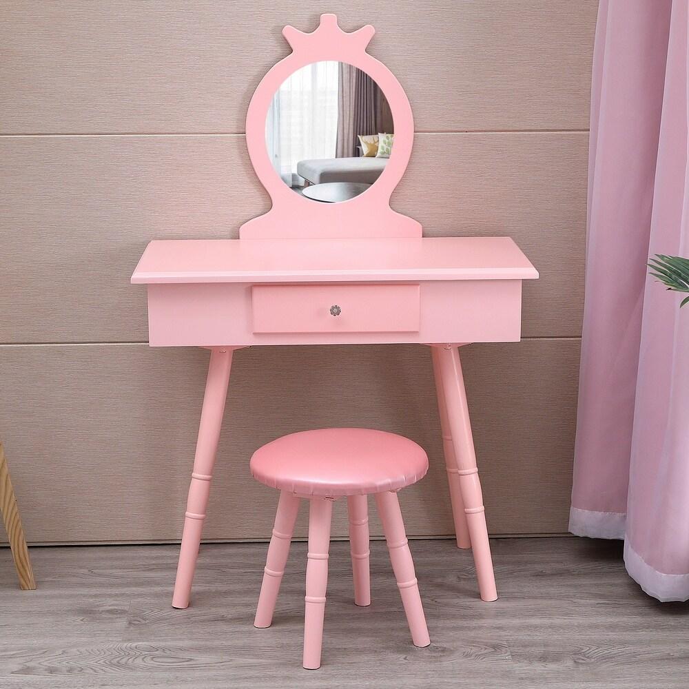 38 kids vanity wooden makeup table set for girls princess