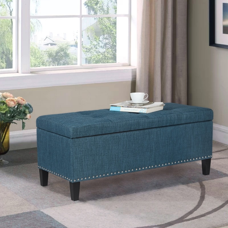 adeco storage ottoman bench tufted fabric footrest for living room