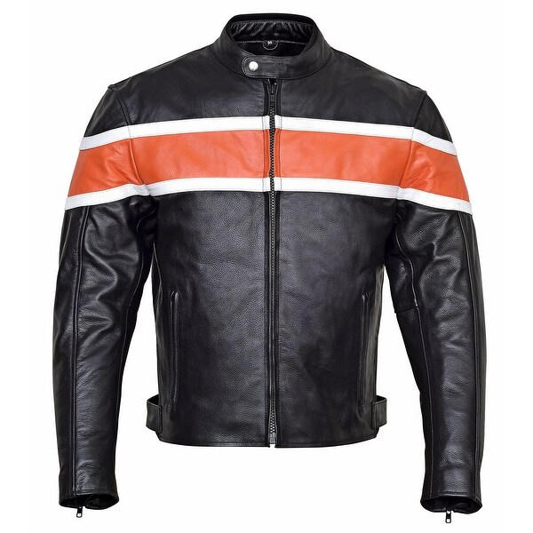 Shop Mens Classic Leather Motorcycle Jacket CE Body Armor MBJ001 Free Shipping Today