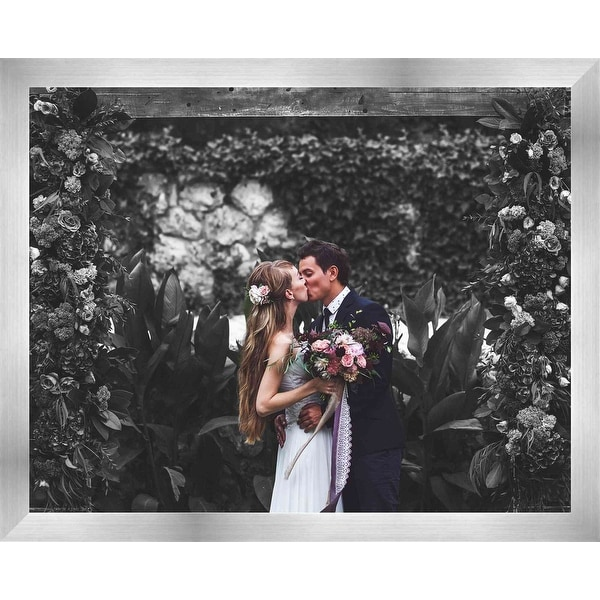 26x30 silver stainless steel wood picture frame with acrylic front and foam board backing