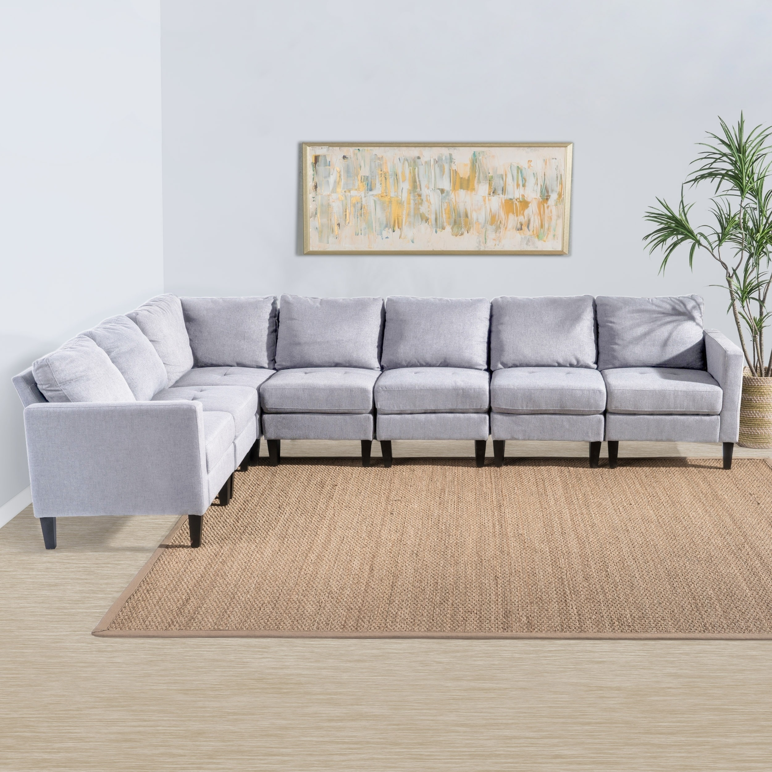 zahra 7 piece fabric sectional sofa set by christopher knight home