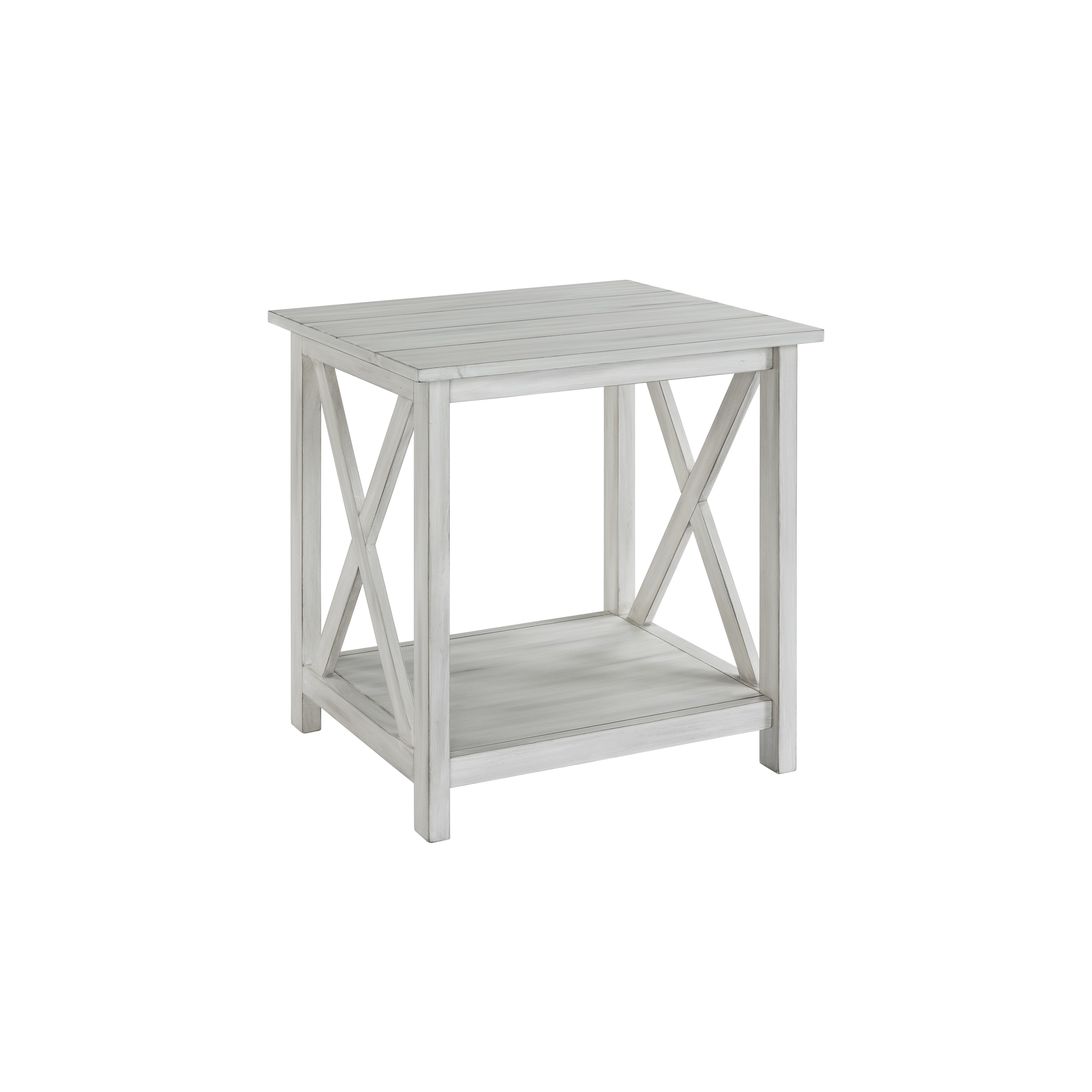 jamestown distressed white wood end table