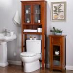 Glitzhome Drop Door Bathroom Spacesaver Floor Storage Cabinet Overstock 19219839 Chestnut Finish