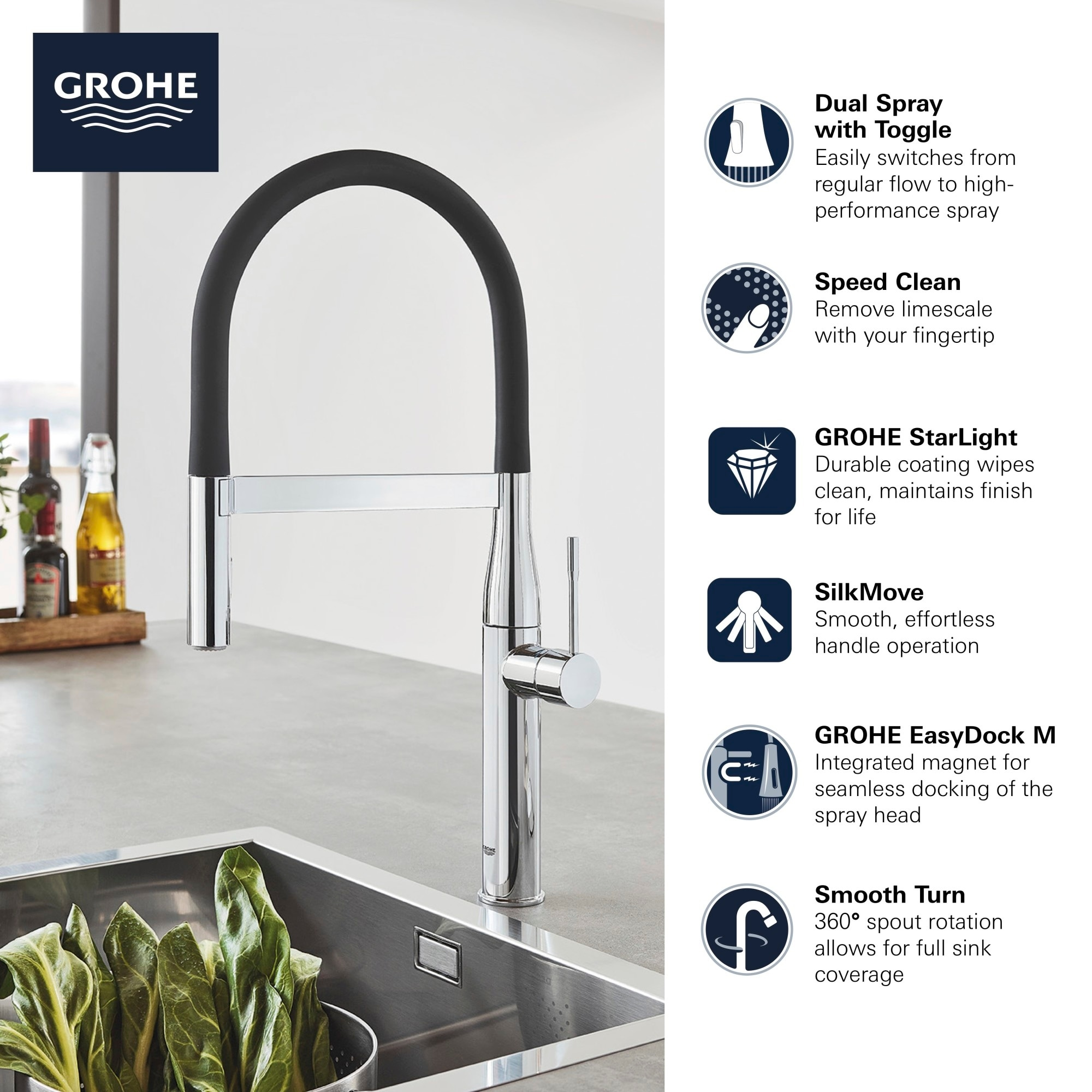 grohe 30 295 essence 1 75 gpm single hole pull out kitchen faucet with