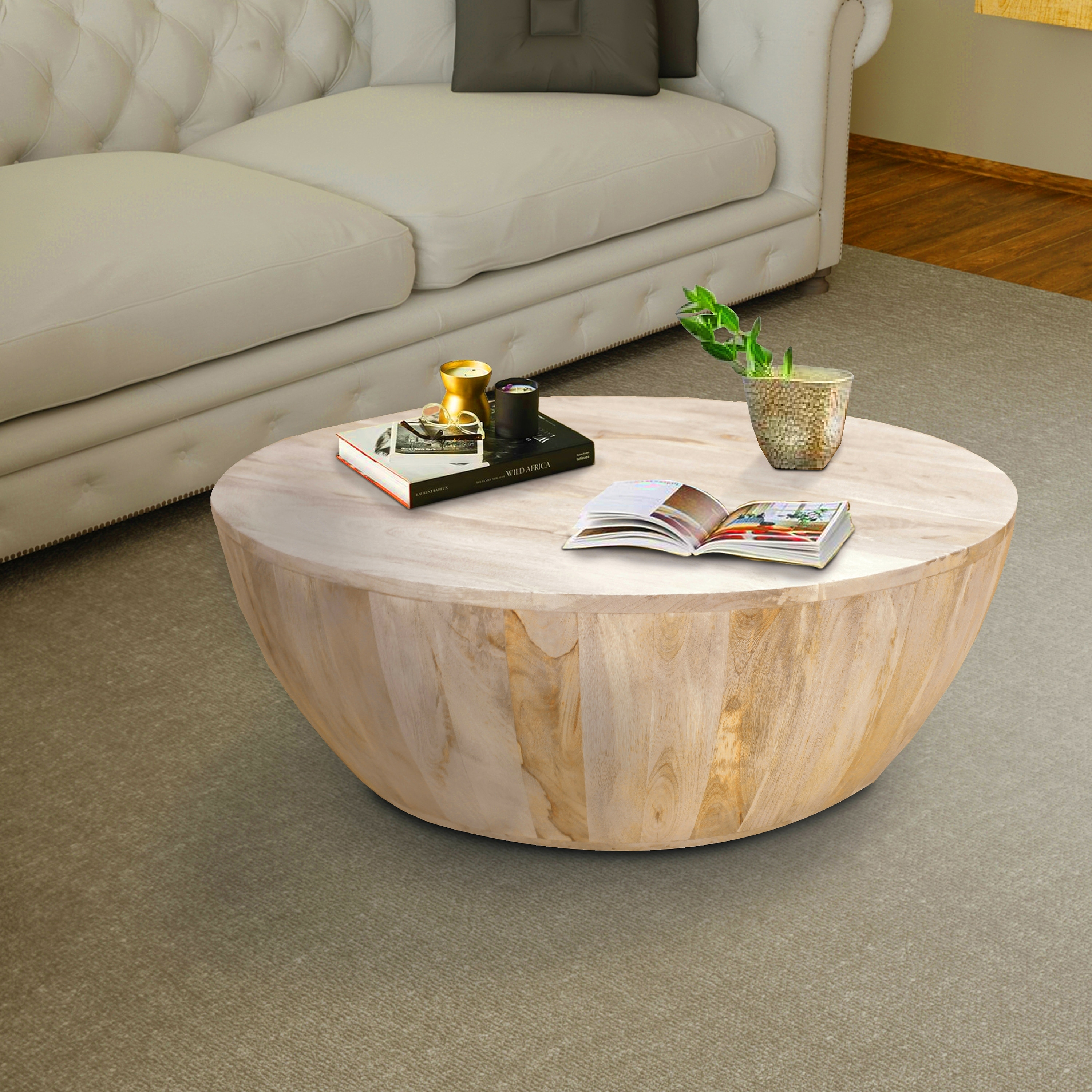 distressed mango wood round coffee table