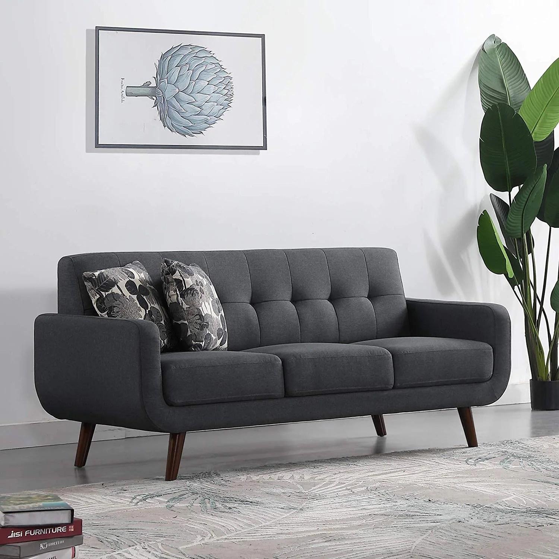 Upholstered Linen Fabric Sleeper Sofa Modern Tufted Loveseat Entertainment Futon Sofa Bed 3 Seats Dark Grey