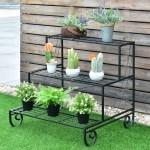 Costway 3 Tier Outdoor Metal Plant Stand Flower Planter Garden Display On Sale Overstock 18730563