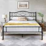 Shop Black Friday Deals On Vecelo Black Metal Twin Full Queen Metal Bed Platform Bed Curved Headboard Fixed Bed Frame Twin Full Queen Size 3 Opotion On Sale Overstock 29059468