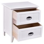 Gymax 2 Pcs 2 Drawers Nightstands Storage Wood End Table Side Bedside White