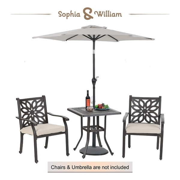 Sophia William Outdoor Patio Dining Table Square Modern Cast Aluminum Outdoor Furniture Dining Table With Umbrella Hole On Sale Overstock 31096038